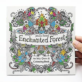 Enchanted Forest English Edition Coloring For, Adult, Relieve Stress, Kill Time