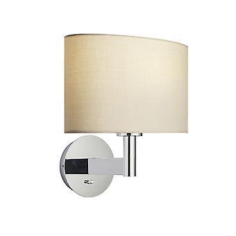 Lampada da parete Cromato Piatto, Taupe Tessuto Oval Shade con Presa Usb