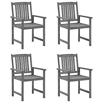 vidaXL sillas de director con cojines 4 piezas. acacia gris de madera maciza