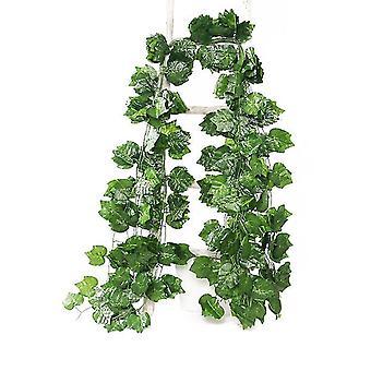 36Pcs 2.2m grape leaves fake garland greenery decor faux green hanging plant vine x1445