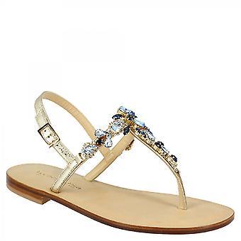 Leonardo Sko Kvinders håndlavede elegante rem sandaler i platin læder med blå rhinestones