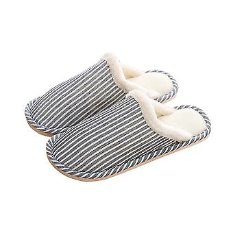 Light blue 44-45 thick comfortable soft warm stripped couple slippers-male homi4277