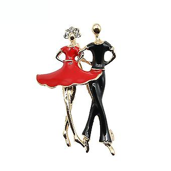 Brooch Pin Couple Dance Corsage Painted Enamel Electroplated Ladies Brooch