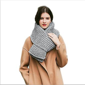 Imitation Cashmere Winter Women's Scarf Bib Thick Pure Color Knitted Thick Wool Handmade Scarf(Grey)