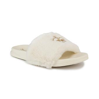 Juicy Couture Kvinders Slide Sandaler med Faux Fur Slipper Sandaler, Lodne Slides, Womens Slip På Hjemmesko-Windy-Ivory-7