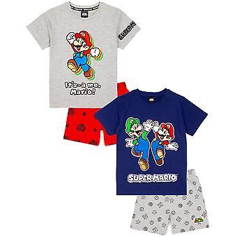 Super Mario Pizsama Fiúk Rövidnadrág | Nintendo Kids Blue VAGY Piros rövid PJs | Luigi Mario póló > Alsók hálóruhás játékáru