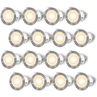 innebygd ledet spotlights, 16pcs ledet spotlights for terrasse, 0.6w vanntett ip67, ledet flekk utendørs lampe, (hot white 3000k)