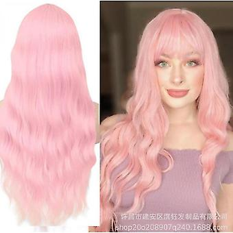 Mid-section Long Curly Hair Pink Rose Net Color Female Wig Hat(Pink)