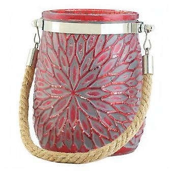 galleri av lys blomst stearinlys holder med tau håndtak - rød, pakke med 1