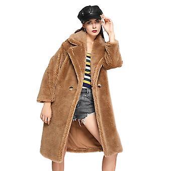 Mimigo Women's Oversized Teddy Coat Warm Sheep Fur Jackets Winter Long Coats With Pockets
