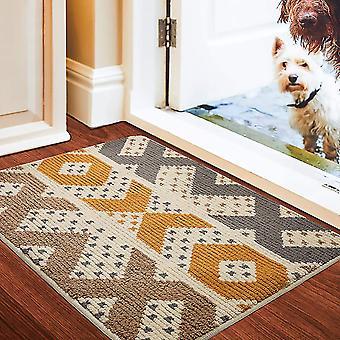 צורה גיאומטרית ללא החלקה מחצלת דלת, מחצלת רגל סופגת ביתית עמידה בפני החלקה, פנימית, חיצונית, כניסה, מדרגות, מסדרון, שטיח חצר, צהוב