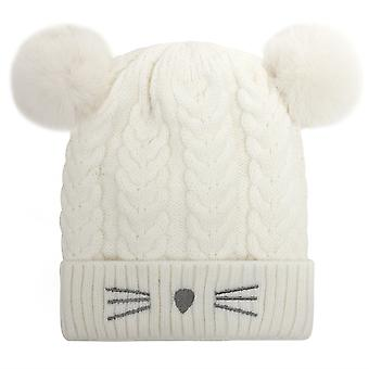 Korean Cute Cute Cute Cat Double Wool Ball Wool Hat Female Autumn And Winter Thickened Warm Hat New Knitted Pullover Hat