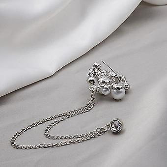 New Hot - Selling Suit Shirt Pearl And Diamond Chain Brooch