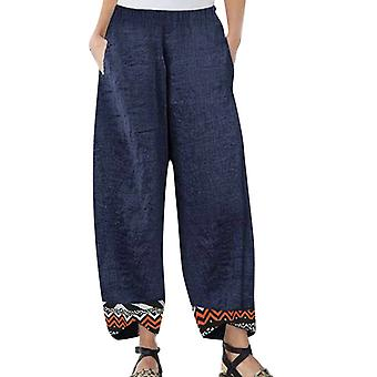 Women Cotton Linen Elastic Waist Pants Leisure Harem Beach Pants