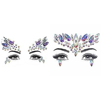 Face Jewels, 2pcs Face Gems Stick On Glitter Face And Eyes Jewels Crystal Rhinestone Stickers For Festival Party