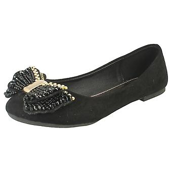 Ladies Spot On Ballerina Bow Detail Shoes