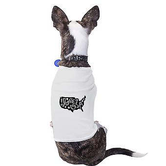 I Love USA Map White Dog Shirt For Independence Day Small Dog Only