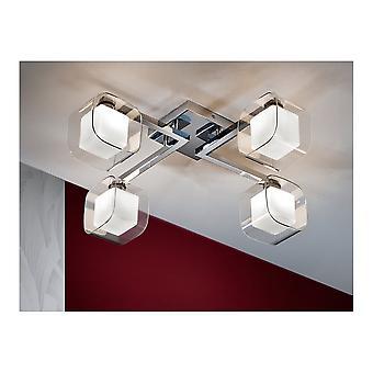 Schuller Modern Chrome Cube Ceiling LED Glass Shade Light