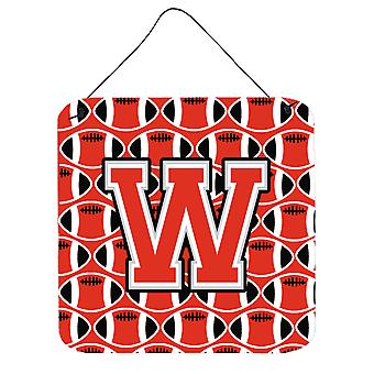 Letter W Football Scarlet and Grey Wall or Door Hanging Prints