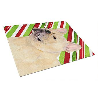 French Bulldog Candy Cane Holiday Christmas Glass Cutting Board Large