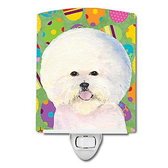 Bichon Frise Easter Eggtravaganza Ceramic Night Light