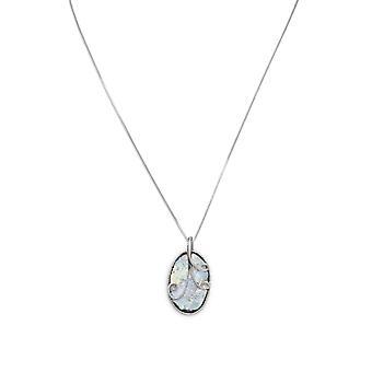 18 Zoll 925 Sterling Silber Halskette mit 17mm X 31mm ovale antike römische Glas und Draht Design Anhänger