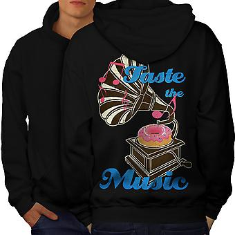 Taste Funny Donut Music Men BlackHoodie Back | Wellcoda
