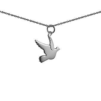 17x19mm Vogel Anhänger mit Rolo Kette 24 Zoll Silber