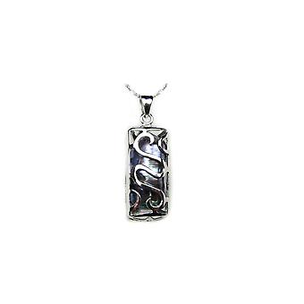 Tiki Black and Silver Woman-Man Pendant Necklace 925/1000 4351