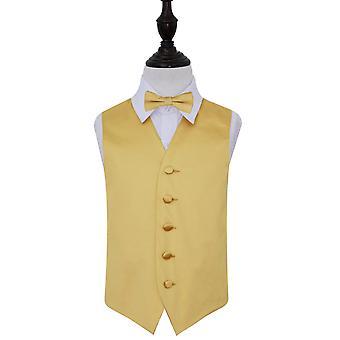 Gilet in raso nozze oro pianura & Bow Tie Set per i ragazzi