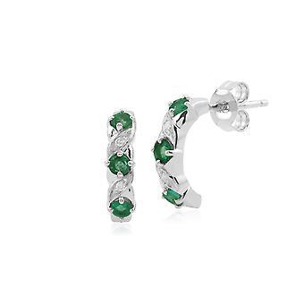 Gemondo 9ct vitguld smaragd- och diamantring halv Hoop Örhängen