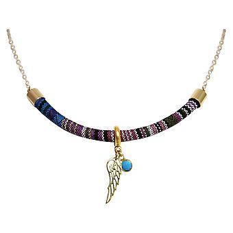 Gemshine halskæde vedhæng sølv forgyldt AZTEC BOHO vinger turkis blå
