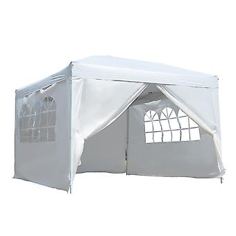 Outsunny 3 x 3 meter Pop Up Gazebo Party Tent Canopy Marquee Waterp Resistant Free Storage Bag White
