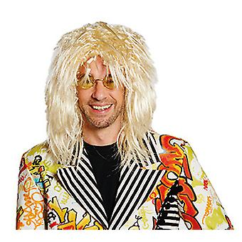 Brian blond Mr wig shoulder length frizzy Rockstar 80's accessory Carnival