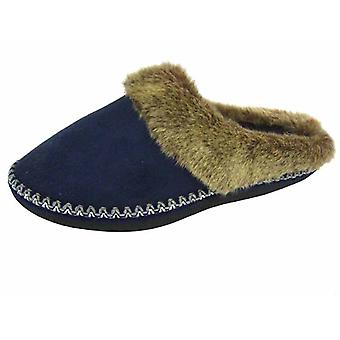 Coolers Womens Faux Fur Lined Microsuede Mule Slippers