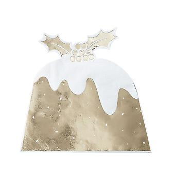 Serviette de table or déjoué le Christmas Pudding - Pack de 12 - fête de Noël