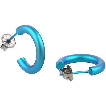 Ti2 Titanium 12mm Hoop Earrings - Kingfisher Blue