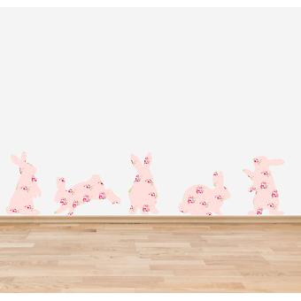 Full Colour Pink Shabby Chic Floral Rabbits Wall Sticker