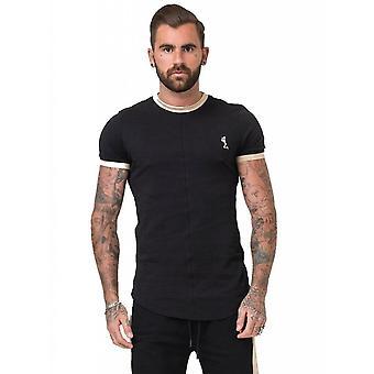 RELIGION Black & Tan Suede Trim Ringer T-shirt