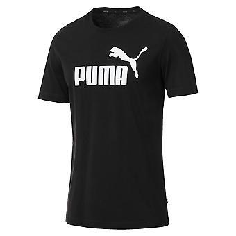 Puma Essentials logotipo Mens Sport moda Fitness formação t-shirt preto