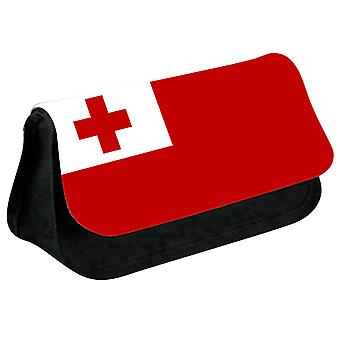 Tonga Flag Printed Design Pencil Case for Stationary/Cosmetic - 0178 (Black) by i-Tronixs