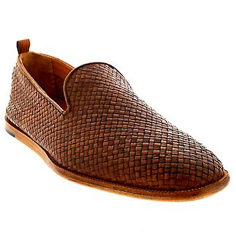Mens H By Hudson Ipanema Leather Slip On Smart Weave Tan Casual Shoes