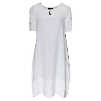 Latte Short Sleeve Loose Fit White Dress