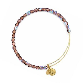 Alex and Ani Amethyst Rock Candy Beaded Gold Bangle BBEB178G