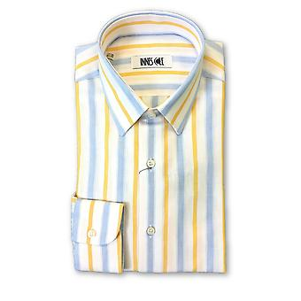 Ingram shirt in white/orange/blue stripe pattern