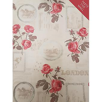 Rote Rose Bilderrahmen Floral Wallpaper Ornamental Vintage Paste Wand Holden