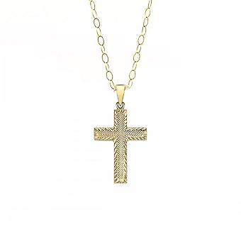 "Eternity 9ct Gold Textured Cross And 16"" Chaîne"