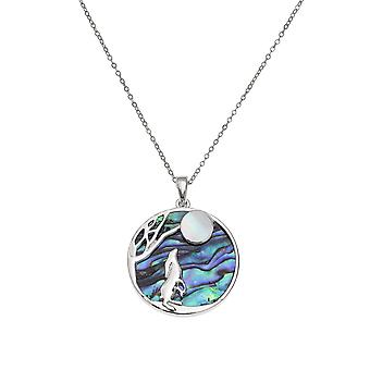Eternal Collection Moon Gazer Hare Paua Shell And Mother Of Pearl Silver Tone Pendant