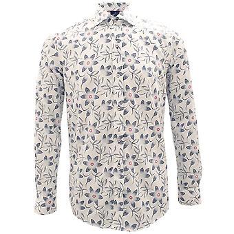 Guia Londres pontilhada flores imprimir algodão puro camisa de manga comprida Mens