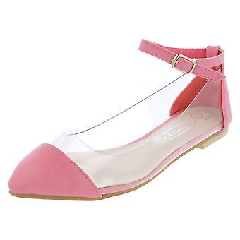 Girls Spot On Flat Clear Side Ballerina / Ankle Strap